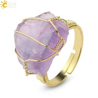 Solitaire Ring Csja Natural Stone Crystal Women Irregular Wire Wrap Healing Purple Fluorite Gold-color Resizable Finger Jewelry G339