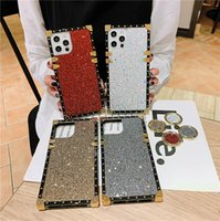 Shiny Square Phone Case for iPhone 13 12 Mini 11 Pro Max XR XS 6s 7 8 Plus Sparkle Full Protective Soft Plating Bracket Back Cover with Finger Ring Holder