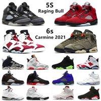 Raging Bull 5S Carmine 6S أحذية كرة السلة Anthracite 5 ما هي ترافيس سكوتس 6 hyper الملكي البديل العنب رجل المدربين الرياضة