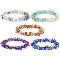 S2282 Fashion Jewelry Irregular Strands Gravel Stone Bracelets handmade Elastic String Stones Beaded Bracelet