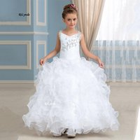 Girl's Dresses White Lace Applique Flower Girl For Wedding Cascading Party Long Sleeve Princess Formal Dress First Communion