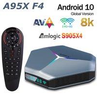 A95X F4 Amlogic S905x4 RGB ضوء TV Box Android 10 4G 64GB 128GB دعم المزدوج WIFI 8K مشغل الوسائط G30S صوت التحكم عن بعد