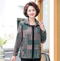 Women's Jackets Spring Fall Middle Age Women Clothing Plus Size Casual And Coats Mother Wool Like Cloth Overcoat Outerwear