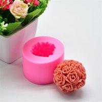 Chuangge Handmade Velas DIY Molde de silicona 3D Rose Ball Aromatherapy Wax Molde de yeso Forma Velas Fabricación de Suministros 1352 V2