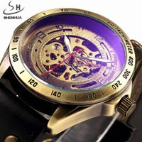 청동 투명한 디자인 중공 조각 검은 골드 케이스 가죽 해골 기계식 시계 남자 horloge wristwatches