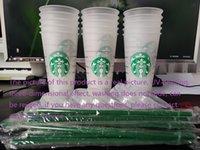 DHL-freie Starbucks 24-Unzen / 710ml Kunststoff-Tumbler wiederverwendbarer klarer trinkender flacher unterer Becher-Säulen-Form-Deckel-Stroh-Becher bardianischer UV-Maschinendruck verblassen nicht