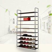 Schichten Einfacher Schuhschrank Hochleistungs-Rack-Regal Edelstahl Nonwovens Store 50 Paar Schuhe Easy-Kleidung Kleiderschrank Storage