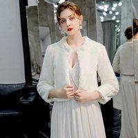 Wraps & Jackets Faux Fur Boleros Wedding Women Winter 3 4 Length Sleeves Bridal Jacket In Stock Warm Elegant Evening Coat