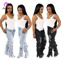 Siyah Yıpranmış Kenar Yırtık Kot Kadın Flare Yan Yarık Altları Sonbahar Kıyılmış Rahat Yüksek Bel Denim Delik Sıkıntılı Pantolon