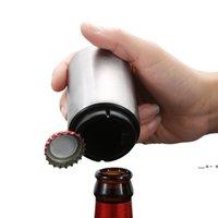 크리 에이 티브 자동 맥주 병 오프너 자석 스테인레스 스틸 프레스 밀어 넣기 와인 소다 모자 리무버 레스토랑 바 주방 도구 FWF9838