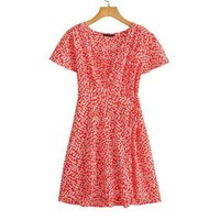 Party Dresses YENKYE Sweet Floral Print Red Wrap Dress Women Cross V Neck Short Sleeve A-line Summer Ladies Holiday Vestido