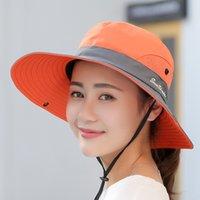 Beach Sunshade Bucket Ponitail Hat Adults Kids Size 26 Styles Anti UV Wide Brim Sunscreen Cap Hollow Hats Women Outdoor Camping LLA834