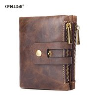 Wallets Short Male Genuine Leather Wallet Coin Purse Money Bag Multifunctional With Double Zipper Buckle Pocket