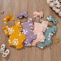 Rompers 4 Colors Lovely Born Baby Girls Summer Clothes Daisy Print Ruffles Sleeve Cotton Linen Romper Jumpsuits Headwear Soft Outfits