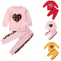 Abbigliamento Pudcoco Bambino Bambino Bambina Inverno Inverno Autunno Abbigliamento Set Solid Color Color Leopard Tops Pantaloni Lunghi Pantaloni Outfit Tracksuit 1-5T C0225