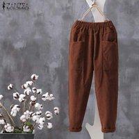 Women's Pants & Capris Plus Size ZANZEA Women Corduroy Casual Elastic Waist Solid Vintage Turnip Trousers Loose Harem Pantalon 5XL