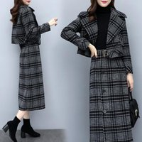 Two Piece Dress 2 Sets Short Blazer + Midi Skirt Ladies Work Long Suits Womens Grey Plaid Outfits Female Business