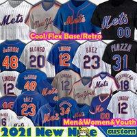 23 Javier Baez Jerseys Jacob Degradm Mets Pete Alonso Jeff McNeil Baseball Mike Piazza Noah Syndergaard New Darryl 딸기 Robinson Cano York Men Women