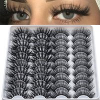 False Eyelashes 20 Pairs 3D Faux Mink Handmade Fluffy Volume Lashes Natural Long Extension Beauty Makeup Tool