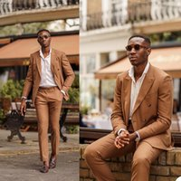 Handsome Brown Mens Tuxedos Double Breasted Groom Wear Wedding Blazer Suits Business Prom Party Jacket(Jacket+Pants)