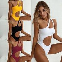 Badebekleidung Frauen Badeanzug 2018 Neue sexy High Cut Monokini Aushöhlen Biquini Eine Schulter Strand Badeanzug Bodysuit Weibliche Strandnutzung 76 x2.