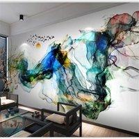 BEibehang Wallpaper Personalizzato Big Break-Scale di Fascia alta Guadagola Nuovo Cinese Zen Inchiostro Accidenti Bird TV Sfondo Sfondo Sfondo Soggiorno