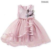 Neue Ankunft Sommer Vereinigtes Königreich Kleinkind Baby Mädchen Sleeveless Kleidung Spitze Kleid Kleine Mädchen Blume Partei Formale Kleider Multicolour