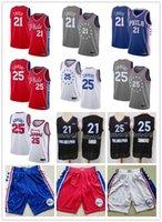ملك الرجالفيلادلفياارتداد76ers.جويل 21 esmiidبن25 سيمونز الصلبالكلاسيكية كرة السلة جيرسي كرة السلة السراويل الأزرق الأحمر