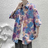 2021 New Fashion Men's Printed Short Sleeve Shirt Spring Summer Hip Hop Streetwear Casual Shirt Men Korean Harajuku Clothing