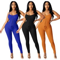 Women Jumpsuits Rompers solid color summer fall clothing sportswear gym bandage spaghetti strap sleeveless leggings full-length pants trousers bodysuits 01671