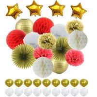 Party Decoração Vermelho Branco Ouro Tecido Papas Pom Poms Fav Fav Fav Fomo Lanternas Fan Folha Starlatex Balões Para Decorações De Nurseros De Casamento