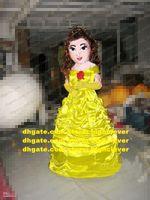 Yellow Beauty Princess Mascot Costume Mascotte Fairy Apsara Infanta With Yellowly Long Beautiful Dress Adult No.650 Free Ship