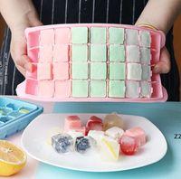 Silice Gel Moules de glace Moules de glace CIÈBES Bacs à cubes avec couvercles Silicone 36 Cavités Moules pour cocktails Coffre-fort réutilisable carré HWB9126