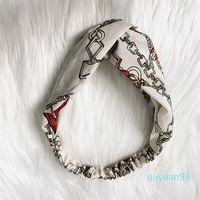 Designer Cross Headband per donna catena elastica stampata in chiffon cinturini ragazza ragazza turbante testa avvolgibile