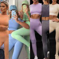 Women's Tracksuits T-Shirt Tops & Tees 2021 seamls suit short sve pants Yoga Set