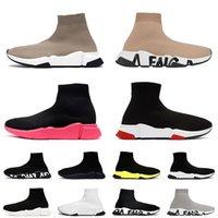 Mulheres Mens Luxo Designer Sock Shoes Balen Graffiti Sola Tênis Casuais Triplo Branco Preto Pink Sports Sneakers Lace Up Marinho Azul Azul Meias Botas Off Treinadores