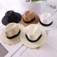 5 colori estate estate floppy spaglia spiaggia Sunhat Brim Cappelli per le donne, copricapo sulla spiaggia, Brim Brim Panama Cappello per la spiaggia Vocation Beach