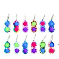 Fidget Pop it Toy Party Favor Camouflage Keychain Finger Toys Bubble Board Game Sensory simple dimple Stress Reliever DWA6242