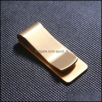 Jewelry100Pcs Brass Wallet Metal Clip Stainless Steel Slim Paper Change Money Clips Name Credit Card Holder Clamp Pure Copper Drop Delivery