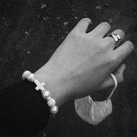 Ювелирные изделия ручной работы оптом девушка браслет жемчужный крест бирюзовый темный хараджуку стиль персонализированный хип-хоп браслет модный крутой прыжки улица панк