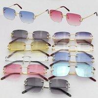 도매 판매 Rimless T8200816 섬세한 유니섹스 패션 선글라스 금속 운전 안경 C 장식 고품질 디자이너 UV400 렌즈 안경