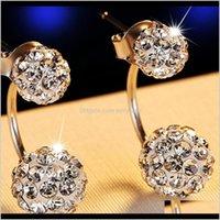 Ear Cuff Jewelrynehzy 925 Sterling Sier Jewelry Women S Luxury Shambhala Crystal Ball Earrings Fashion Temperament Stud Drop Delivery 2021 S