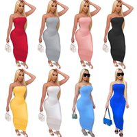 Summer Women Long Maxi Dress Off Shoulder Bandeau Casual Dress Tight High Stretch Dress Sexy Club Bodycon Pencil Skirt