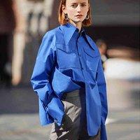 Ael Kraliyet Mavi Gömlek Kadın Yaka Bluz Feminina Moda Safari Tarzı Bahar Yaz Üst Giyim Gevşek Artı Boyutu Yeni 201202