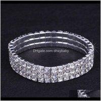 Armbänder Drop Lieferung 2021 12 Stücke Lot 3 Reihen Brautschmuck Elastisches Kristall Strass Stretch Gold Armreif Armband Großhandel Hochzeit ACC