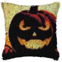 Riegelhaken Teppich Kissen Kissen Teppichabdeckung Bodenmatte Halloween Nähen Handarbeit für Erwachsene Kinder Geschenk H0907