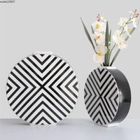 European Flat Ceramic Vase Modern Black And White Striped Round Flower Arrangement Plant Hydroponic Living Room Table Decor Vases