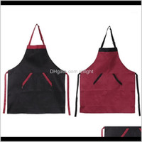 Aprons Textiles Home & Garden Drop Delivery 2021 Womens Mens Chef Kitchen Restaurant Cooking Bib Apron Dress Gift With 2 Pockets1 Fv62R