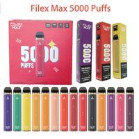 일회용 Vape 5000 퍼프 Filex Max Plus Bars 전자 담배 충전식 12ml 용량 프리 쿼리 포드 장치 1100mAh 충전식 배터리 키트 Bang XXL