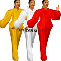 Ethnic Clothing Two Piece Set Women Tracksuit Fall Clothes African Dresses For 2021 Party Puff Sleeve Tops Pants Suits Outfits Plus Size